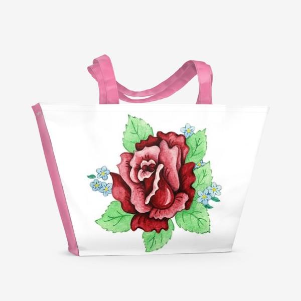 Пляжная сумка «Декоративная роза с незабудками»