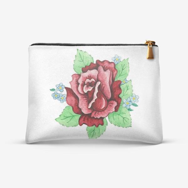 Косметичка «Декоративная роза с незабудками»