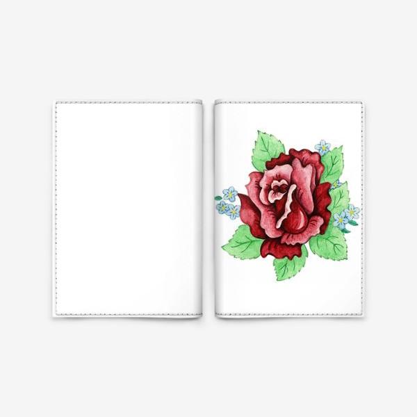 Обложка для паспорта «Декоративная роза с незабудками»