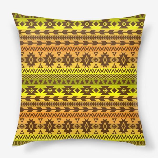 Подушка «этнический орнамент в оттенках осени»