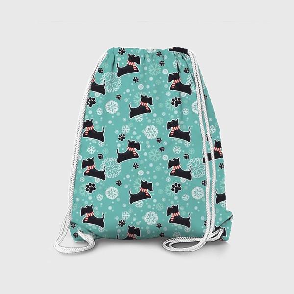 Рюкзак «Зимнийий паттерн Собаки Шотландские скотч терьеры»