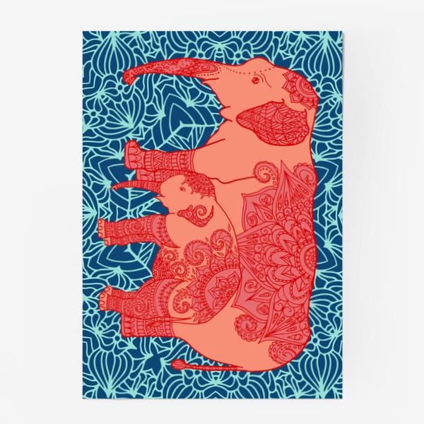 Постер «Индийский слон и слоненок»