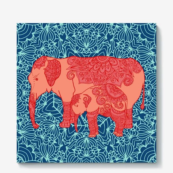 Холст «Индийский слон и слоненок»