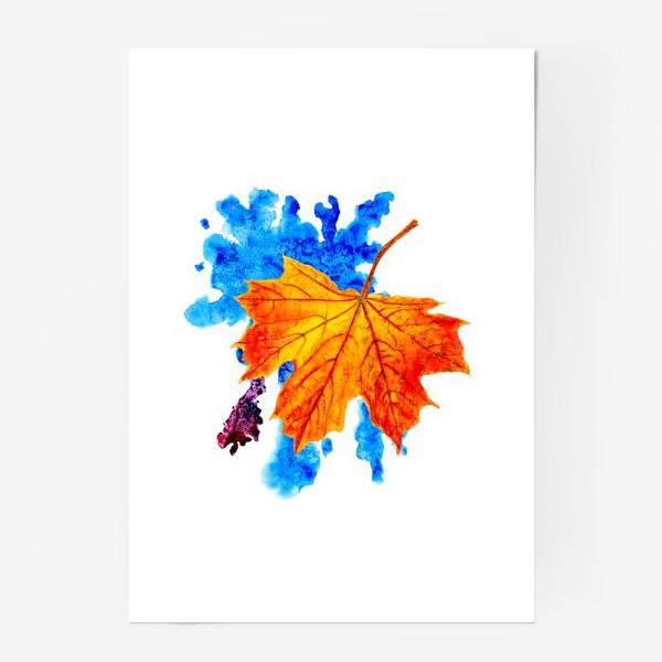 Постер «Осенний лист клена на акварельной синей кляксе»