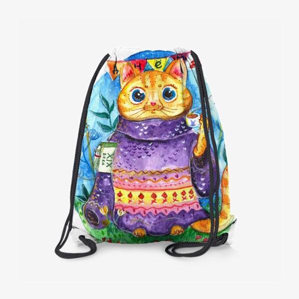 Рюкзак «Кошка с кофе»