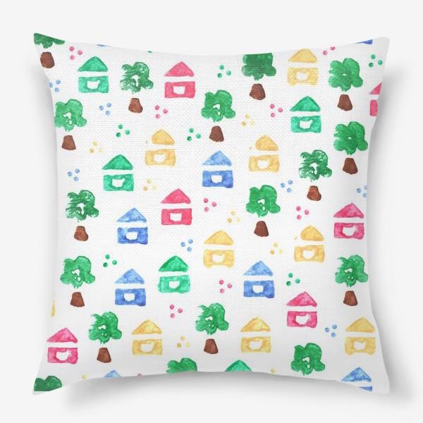 Подушка «Детский паттерн милые домики и деревья»