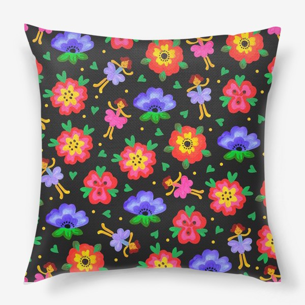 Подушка «Яркий паттерн цветы и феи. Детские обои.»