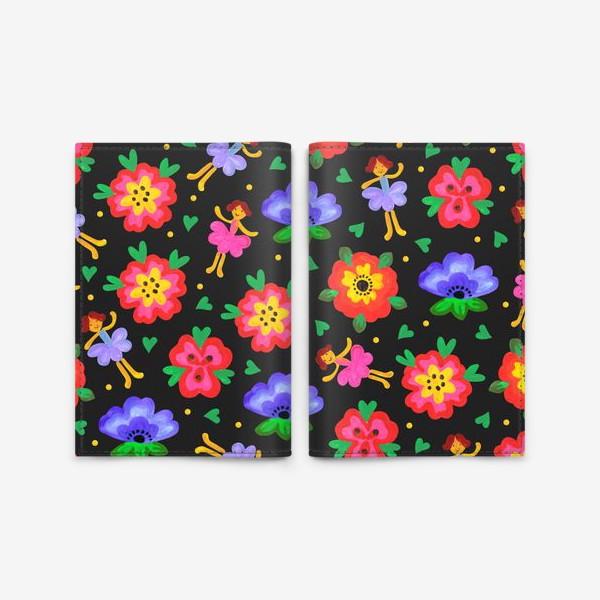 Обложка для паспорта «Яркий паттерн цветы и феи. Детские обои.»