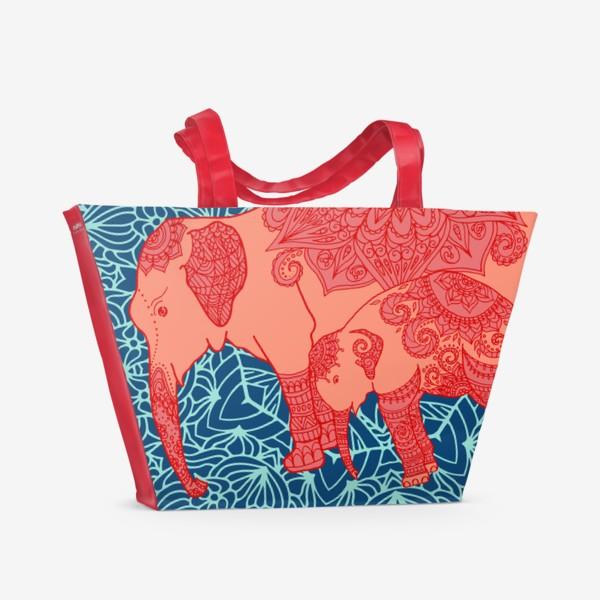 Пляжная сумка «Индийский слон и слоненок»