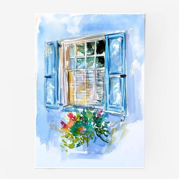 Постер «Окно со ставнями и цветами»