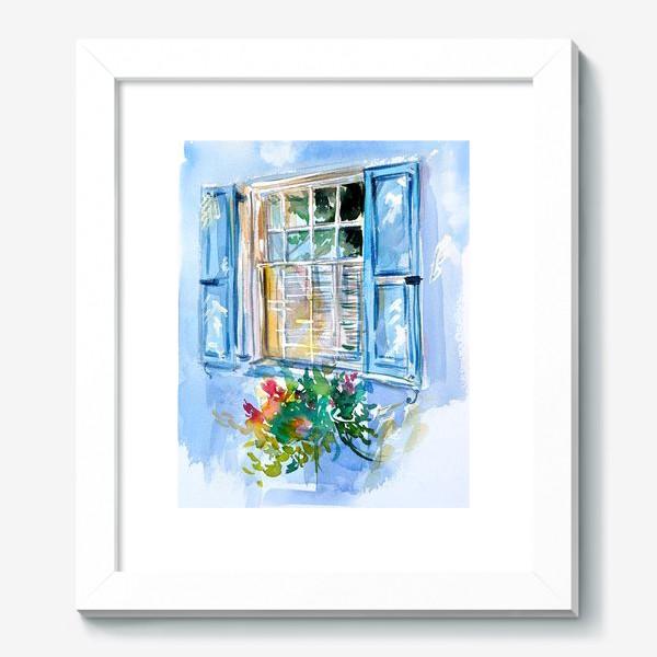 Картина «Окно со ставнями и цветами»