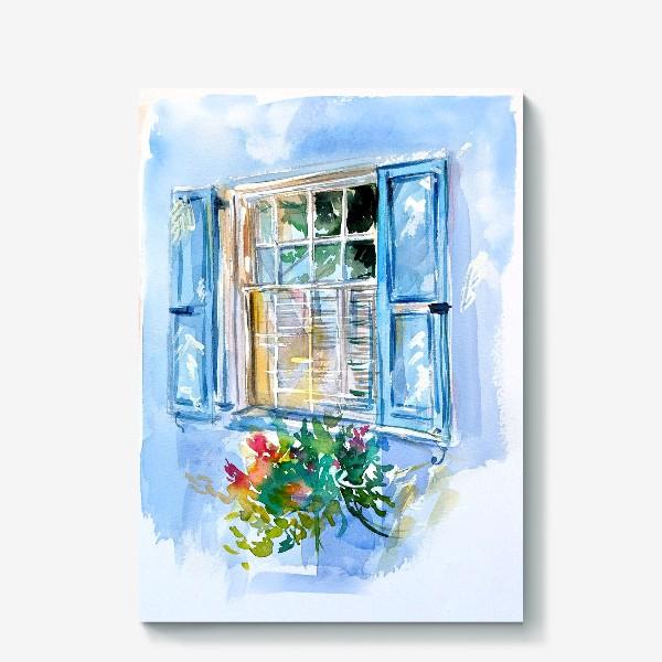 Холст «Окно со ставнями и цветами»