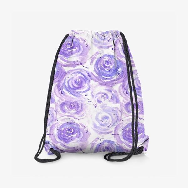 Рюкзак «Фиолетовые розы. Акварельный цветочный абстрактный принт на белом фоне»