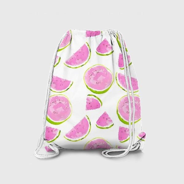 Рюкзак «Сочный арбуз. Летний акварельный принт на белом фоне»