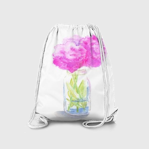 Рюкзак «Пионы в банке. Букет розовых цветов, летний акварельный абстрактный принт на белом фоне»