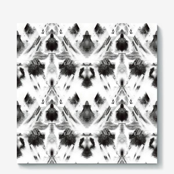 Холст «Черно-белый акварельный узор. Абстракция. Abstract watercolor black and white pattern»