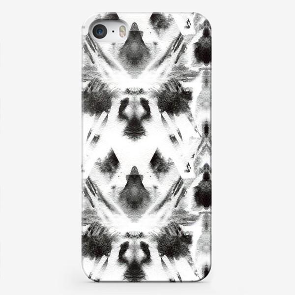 Чехол iPhone «Черно-белый акварельный узор. Абстракция. Abstract watercolor black and white pattern»
