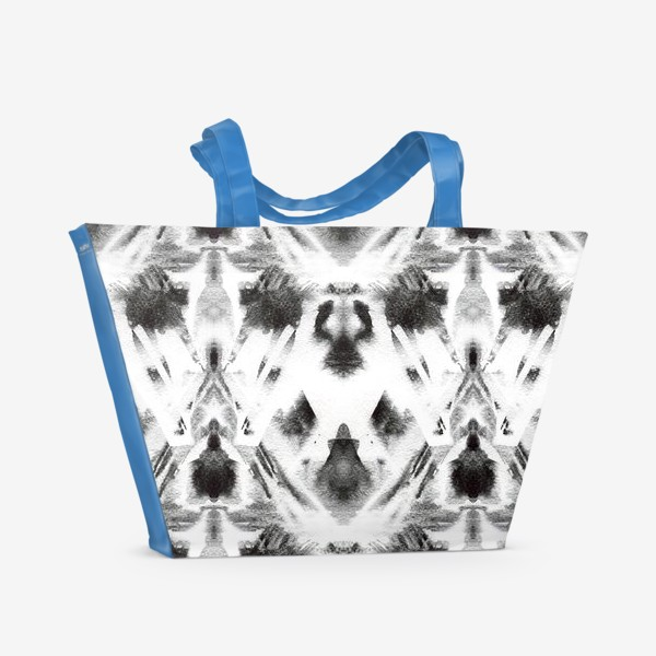 Пляжная сумка «Черно-белый акварельный узор. Абстракция. Abstract watercolor black and white pattern»