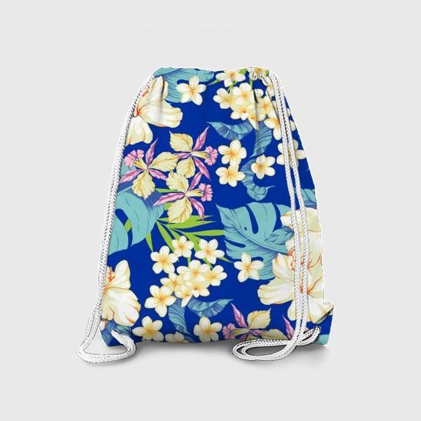 Рюкзак «Цветы. Гавайи. Синий.»