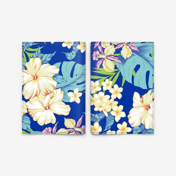 Обложка для паспорта «Цветы. Гавайи. Синий.»