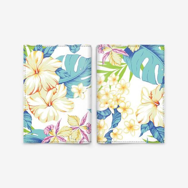 Обложка для паспорта «Цветы. Гавайи. Белый.»