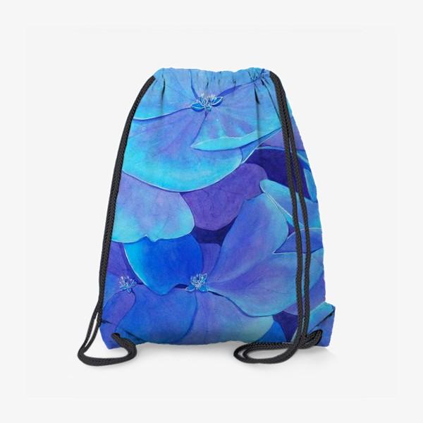 Рюкзак «Цветы голубой гортензии, акварельный летний ботанический принт»