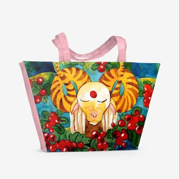 Пляжная сумка «Барашек медитирует»