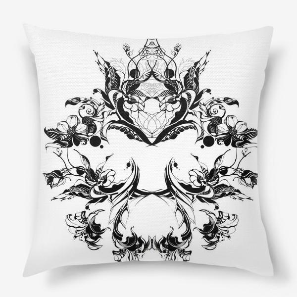 Подушка «Абстрактный узор из цветов на белом фоне, венок в стиле модерн»