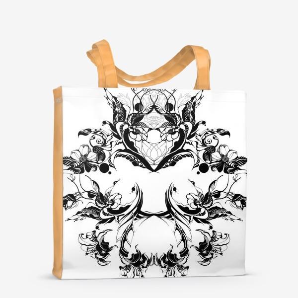 Сумка-шоппер «Абстрактный узор из цветов на белом фоне, венок в стиле модерн»