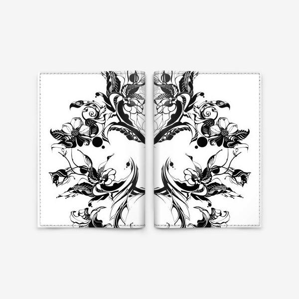 Обложка для паспорта «Абстрактный узор из цветов на белом фоне, венок в стиле модерн»