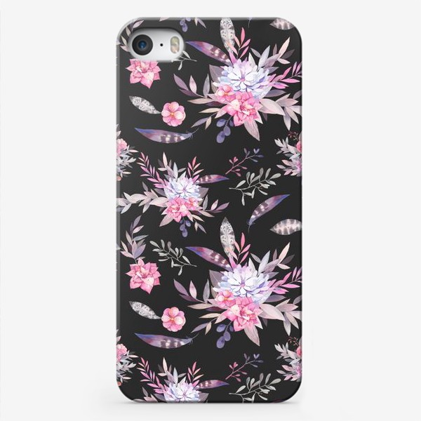 Чехол iPhone «Цветочный паттерн в серых и розовых тонах»