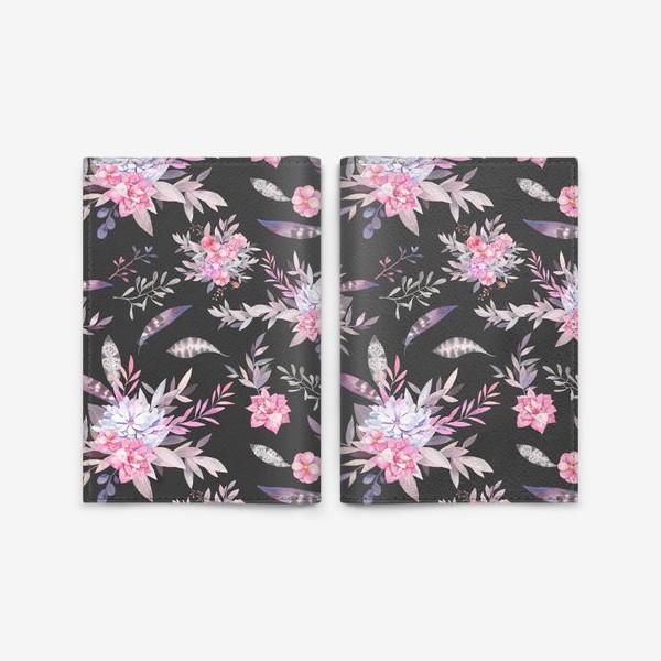 Обложка для паспорта «Цветочный паттерн в серых и розовых тонах»