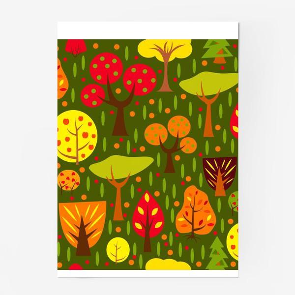 Постер «Осенний мультяшный лес»