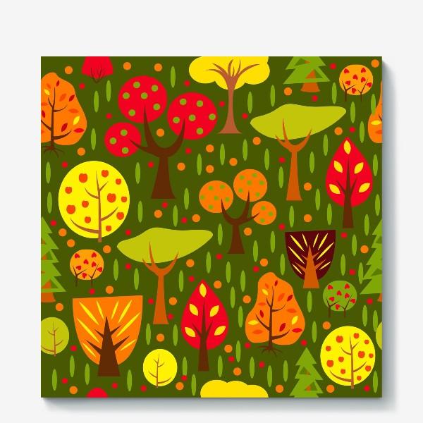 Холст «Осенний мультяшный лес»