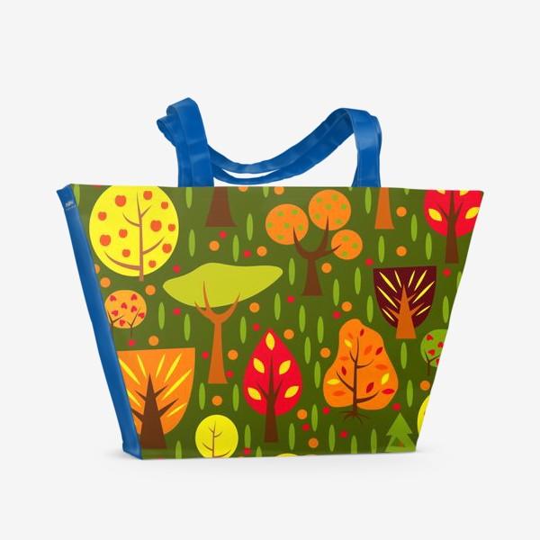 Пляжная сумка «Осенний мультяшный лес»