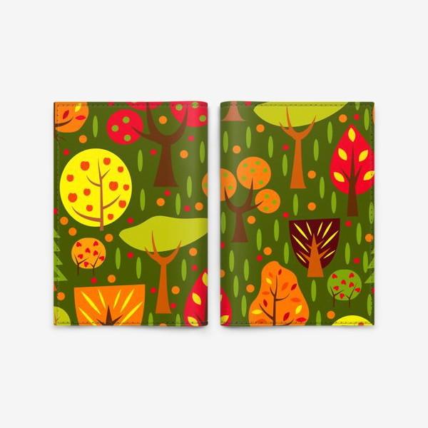 Обложка для паспорта «Осенний мультяшный лес»