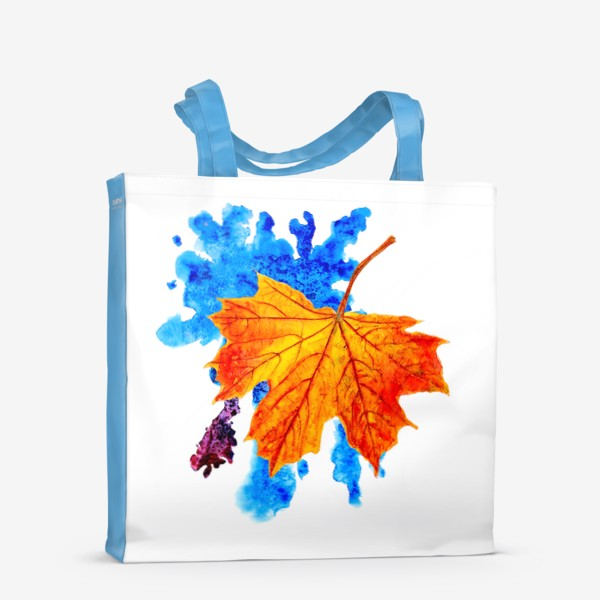 Сумка-шоппер «Осенний лист клена на акварельной синей кляксе»
