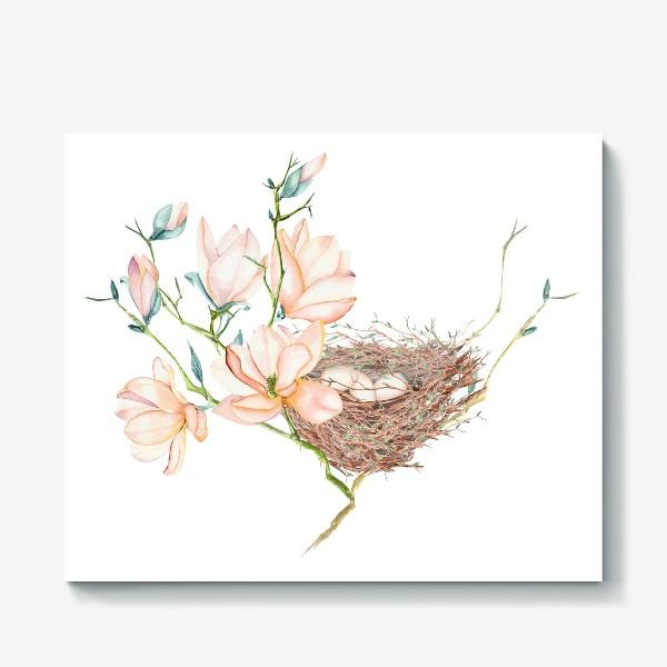 Холст «Птичье гнездо в магнолиях»