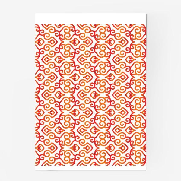 Постер «Азиатский орнамент с красно-желтым градиентом №1»