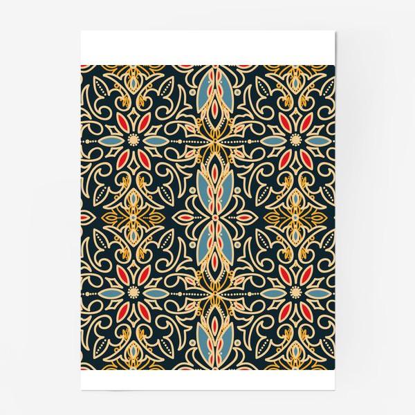 Постер «Черный с золотом паттерн»