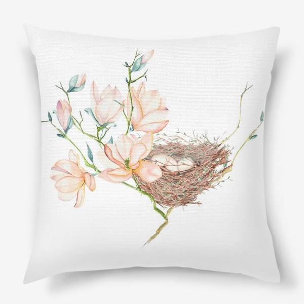 Подушка «Птичье гнездо в магнолиях»