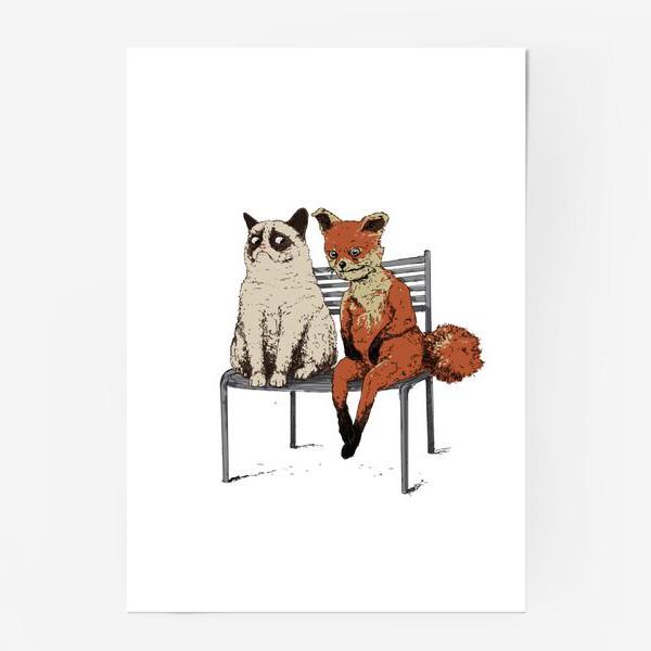 Постер «Угрюмый кот и упоротый лис»