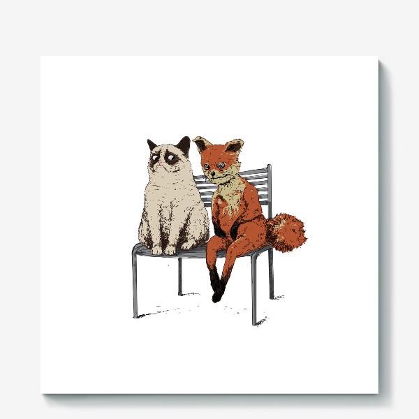 Холст «Угрюмый кот и упоротый лис»