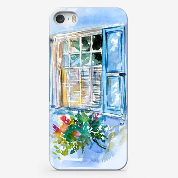 Чехол iPhone «Окно со ставнями и цветами»