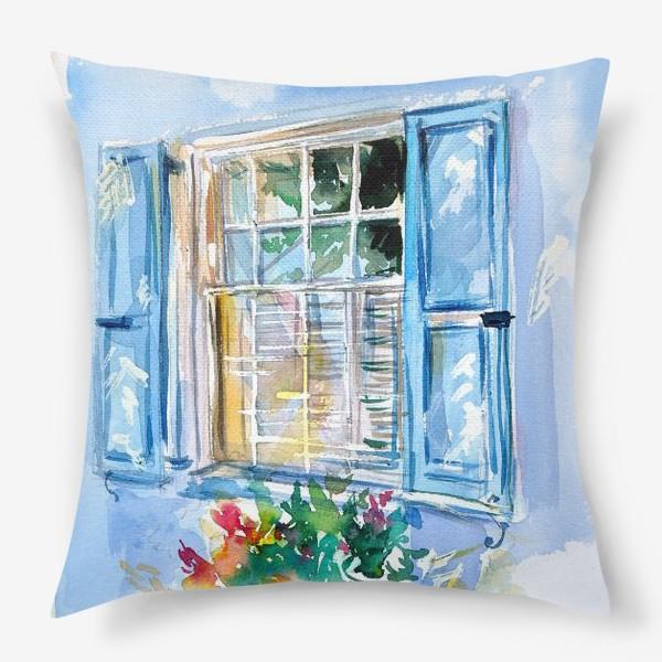 Подушка «Окно со ставнями и цветами»