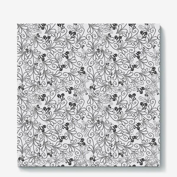 Холст «Черно-белые завитульки»
