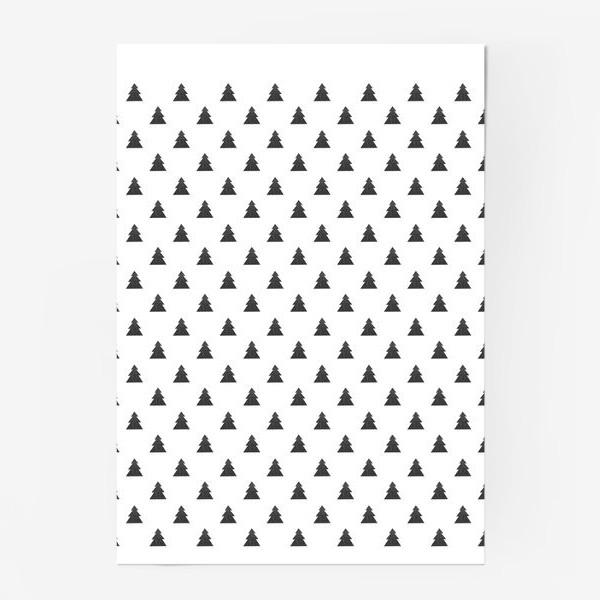 Постер «Новогодний паттерн с черными елками Black Collection»