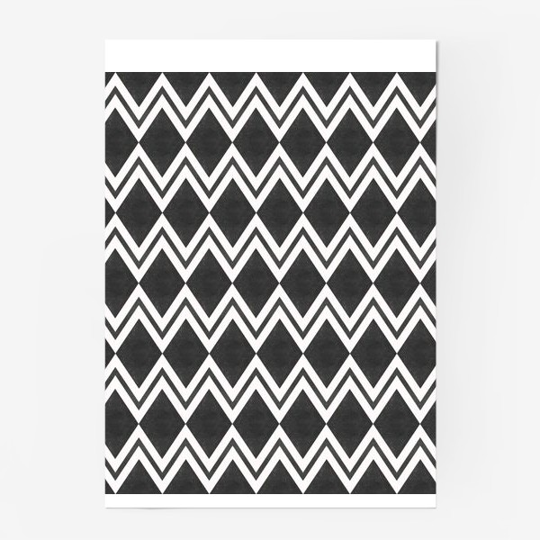 Постер «Паттерн геометрический орнамент бохо с ромбами Black Collection»