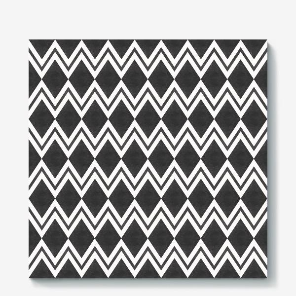 Холст «Паттерн геометрический орнамент бохо с ромбами Black Collection»