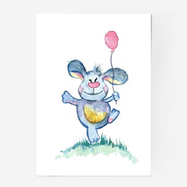 Постер «Заяц с шариком»